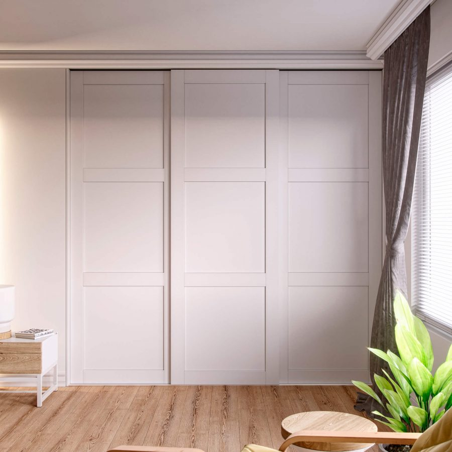 Fitted Wardrobe with Solid Shaker Style Sliding Doors